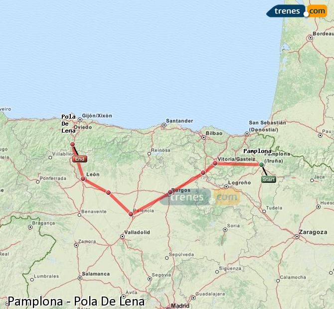 Enlarge map Trains Pamplona to Pola De Lena
