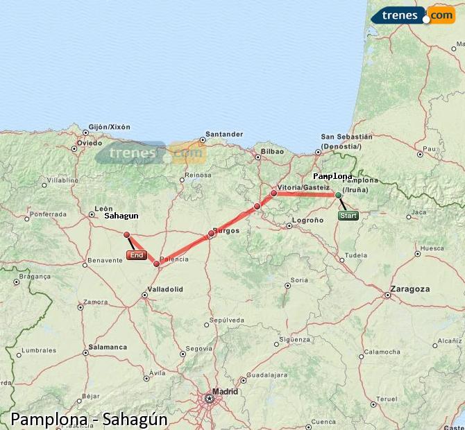 Ampliar mapa Comboios Pamplona Sahagún