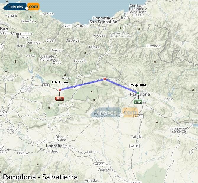 Karte vergrößern Züge Pamplona Salvatierra