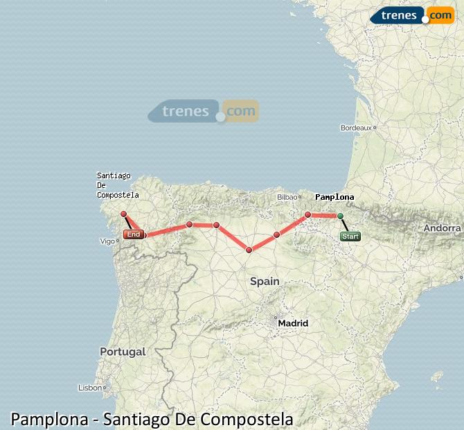 Karte vergrößern Züge Pamplona Santiago De Compostela