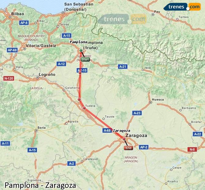 Enlarge map Trains Pamplona to Zaragoza