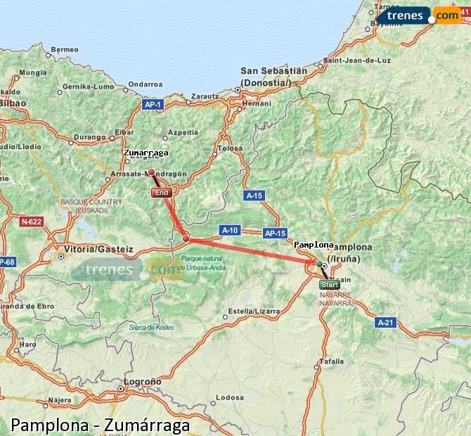 Karte vergrößern Züge Pamplona Zumárraga
