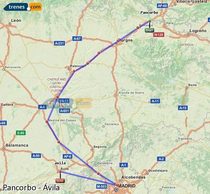 Ampliar mapa Trenes Pancorbo Ávila