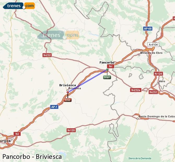 Agrandir la carte Trains Pancorbo Briviesca