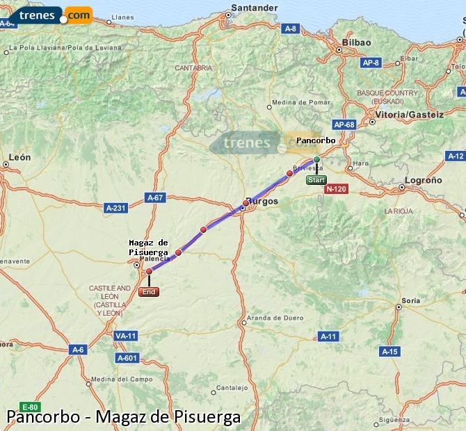 Agrandir la carte Trains Pancorbo Magaz de Pisuerga