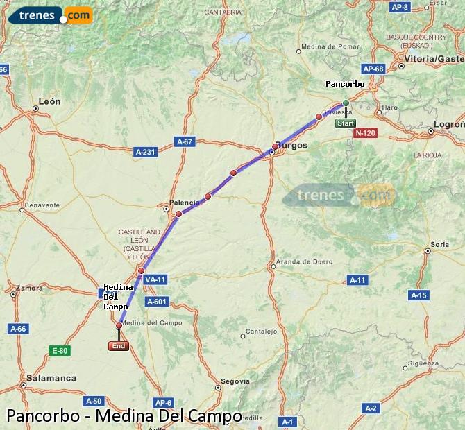 Agrandir la carte Trains Pancorbo Medina Del Campo