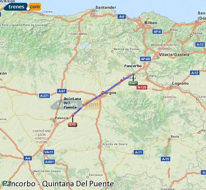 Ingrandisci la mappa Treni Pancorbo Quintana Del Puente