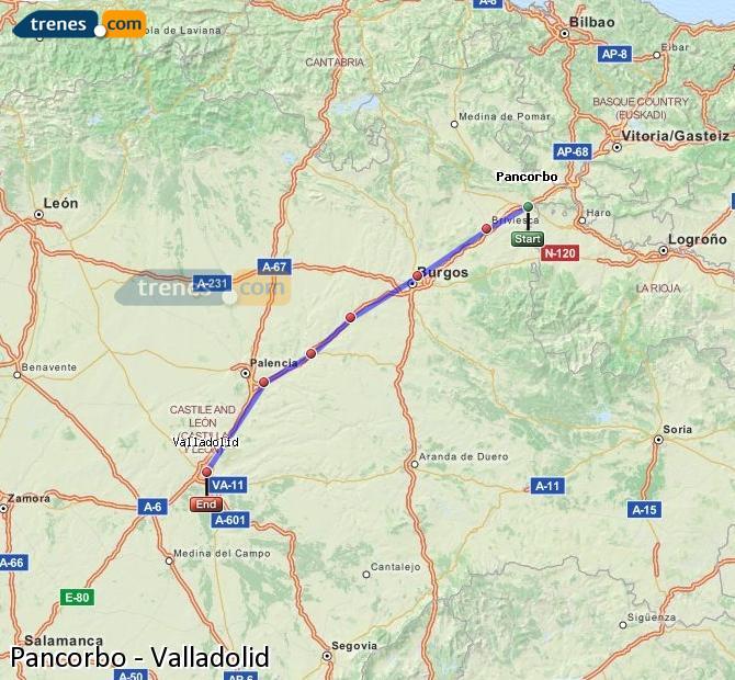 Agrandir la carte Trains Pancorbo Valladolid