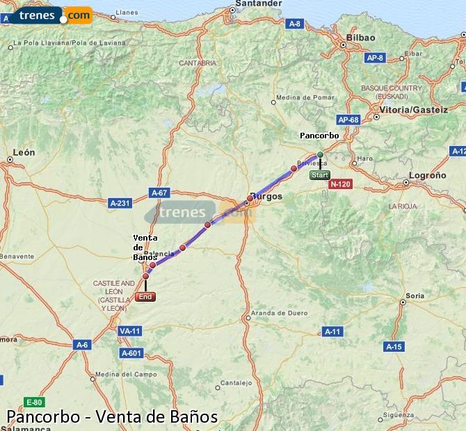 Karte vergrößern Züge Pancorbo Venta de Baños