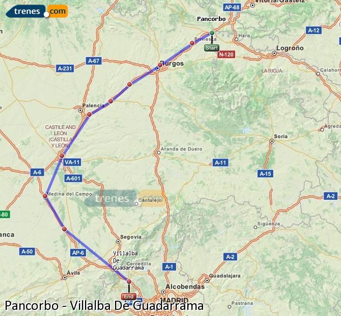 Karte vergrößern Züge Pancorbo Villalba De Guadarrama