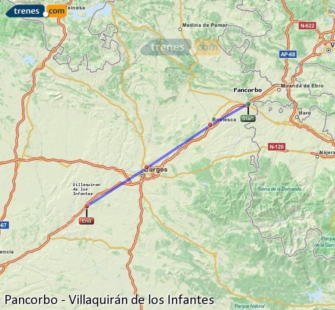 Karte vergrößern Züge Pancorbo Villaquirán de los Infantes