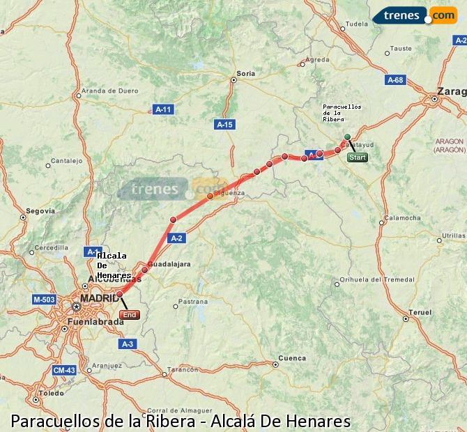 Enlarge map Trains Paracuellos de la Ribera to Alcalá De Henares