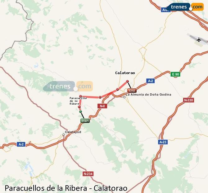 Karte vergrößern Züge Paracuellos de la Ribera Calatorao