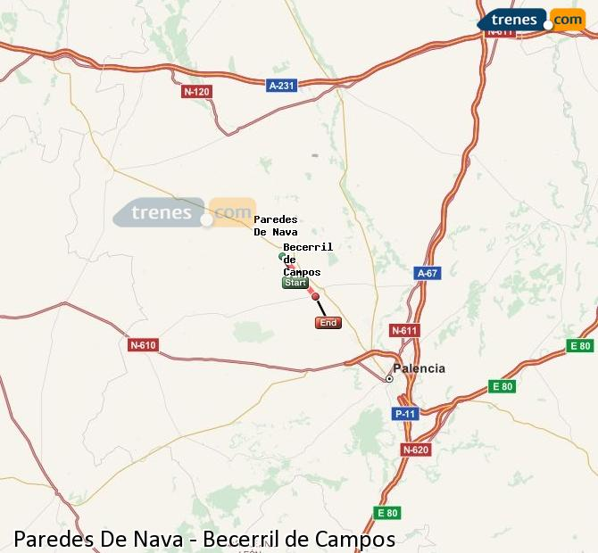 Ingrandisci la mappa Treni Paredes De Nava Becerril de Campos