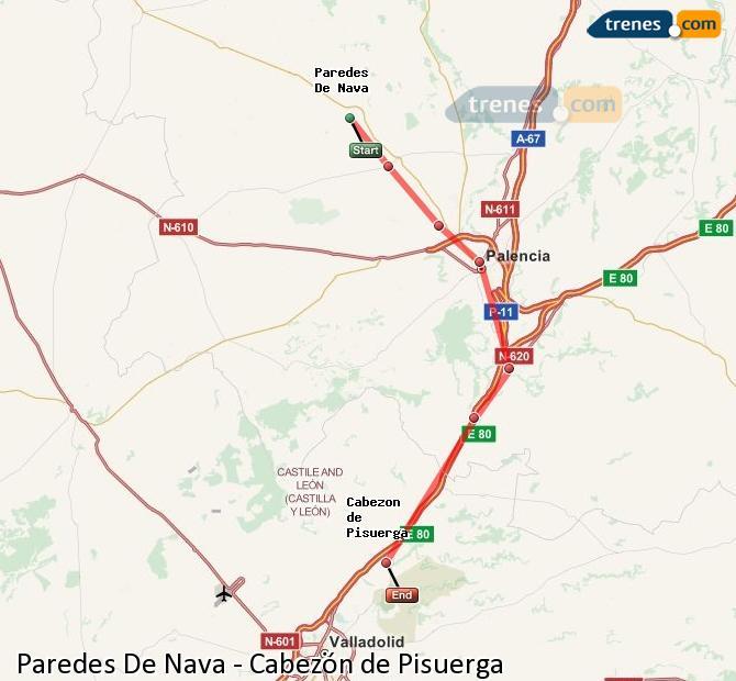 Karte vergrößern Züge Paredes De Nava Cabezón de Pisuerga