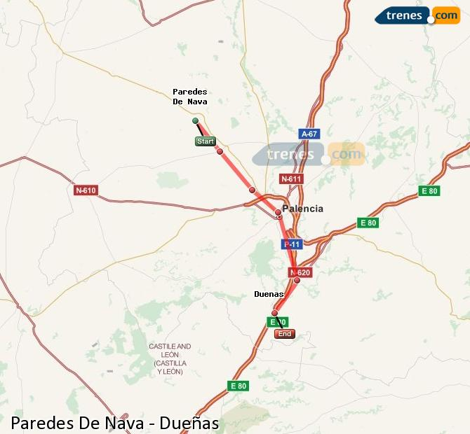 Ingrandisci la mappa Treni Paredes De Nava Dueñas