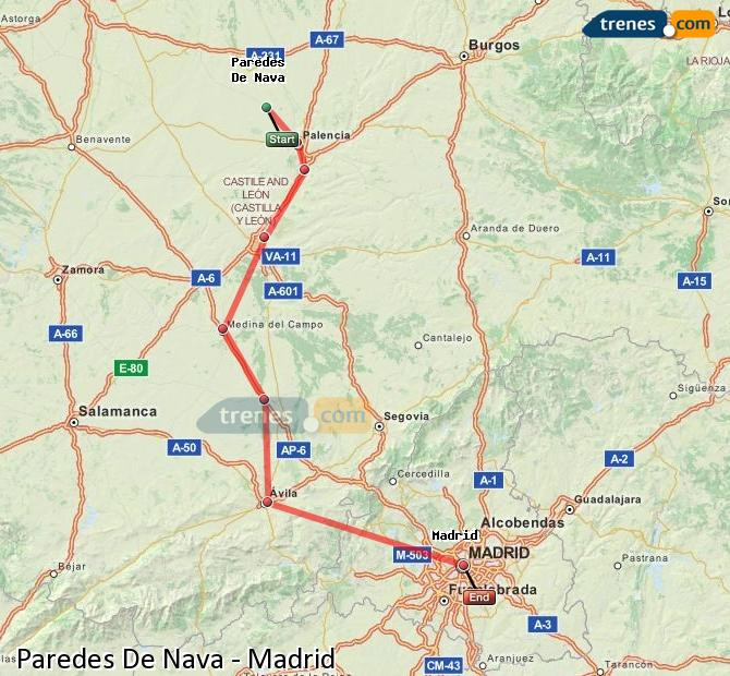 Ingrandisci la mappa Treni Paredes De Nava Madrid