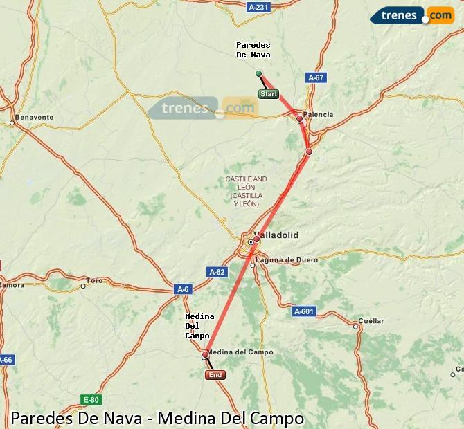 Karte vergrößern Züge Paredes De Nava Medina Del Campo