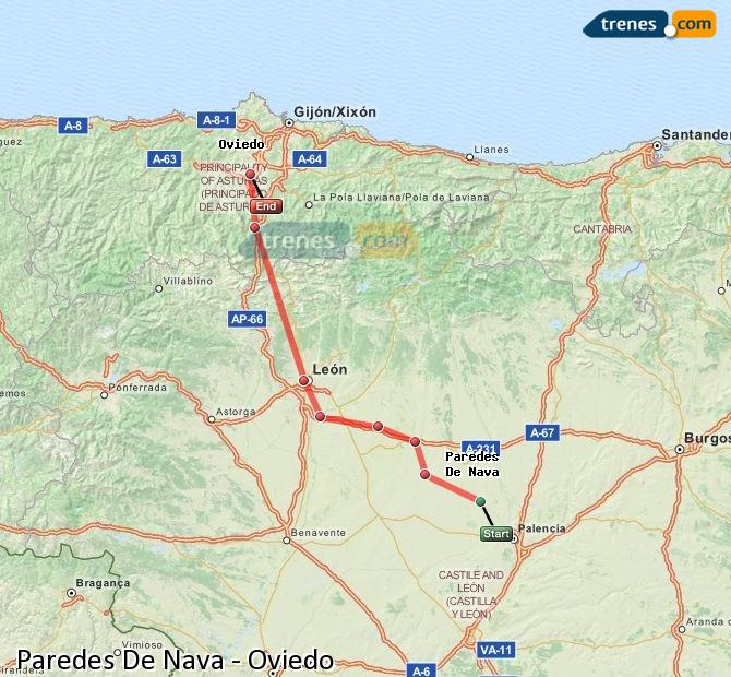Enlarge map Trains Paredes De Nava to Oviedo