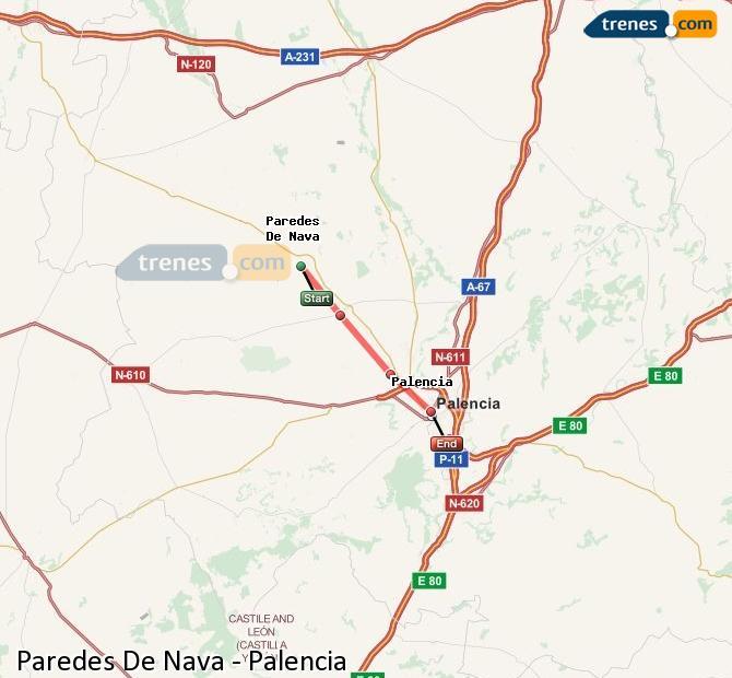 Agrandir la carte Trains Paredes De Nava Palencia