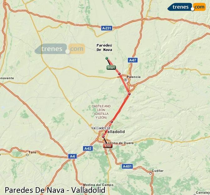 Ingrandisci la mappa Treni Paredes De Nava Valladolid