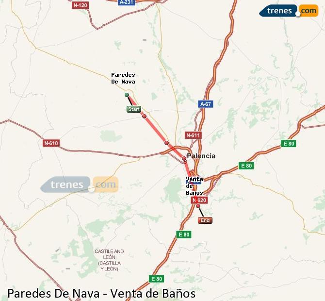 Enlarge map Trains Paredes De Nava to Venta de Baños