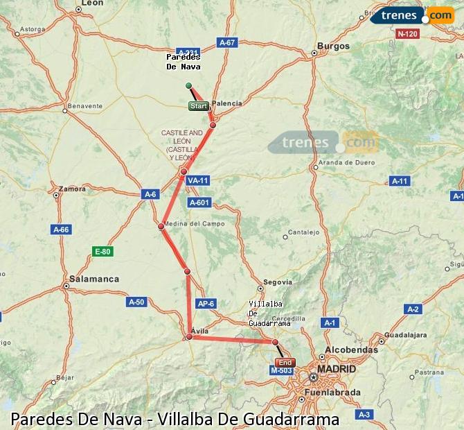 Ingrandisci la mappa Treni Paredes De Nava Villalba De Guadarrama