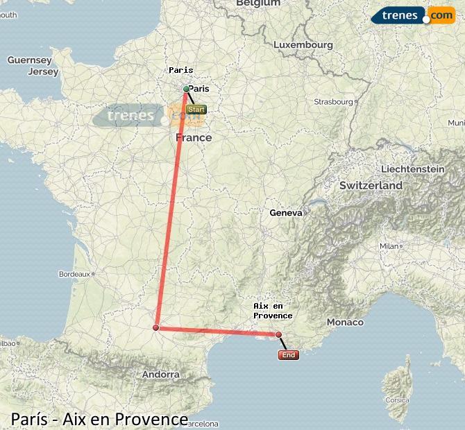 Ampliar mapa Comboios Paris Aix en Provence