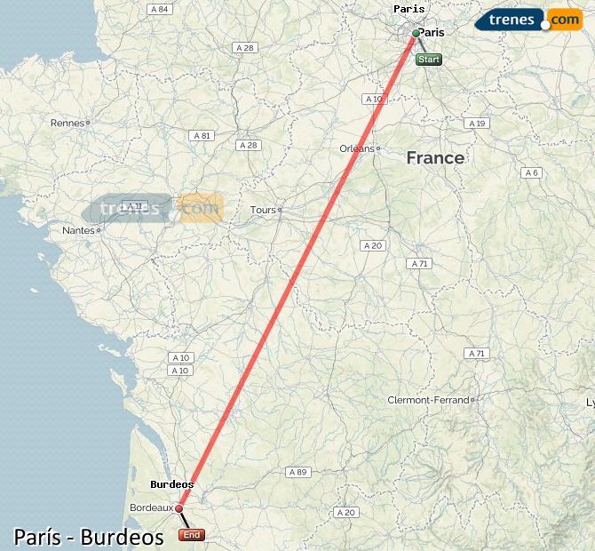 Agrandir la carte Trains Paris Bordeaux