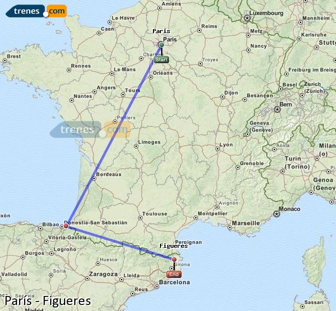 Enlarge map Trains Paris to Figueres