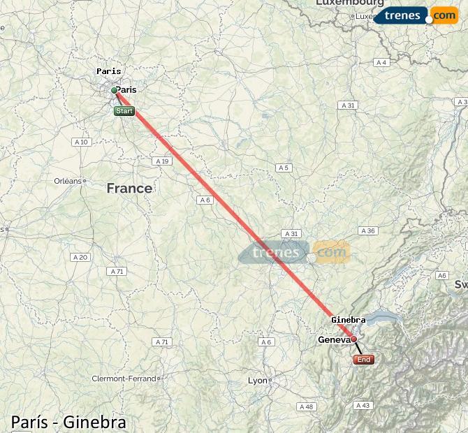 Karte vergrößern Züge Paris Genf