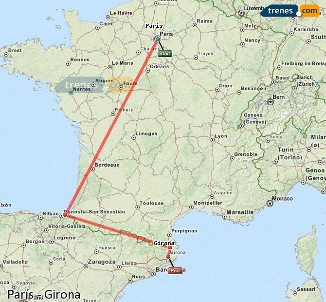 Enlarge map Trains Paris to Girona