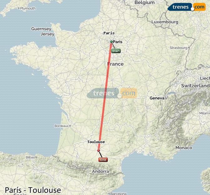 Toulouse Karte.Günstige Paris Toulouse Züge Zugtickets Ab 70 00 Trenes Com