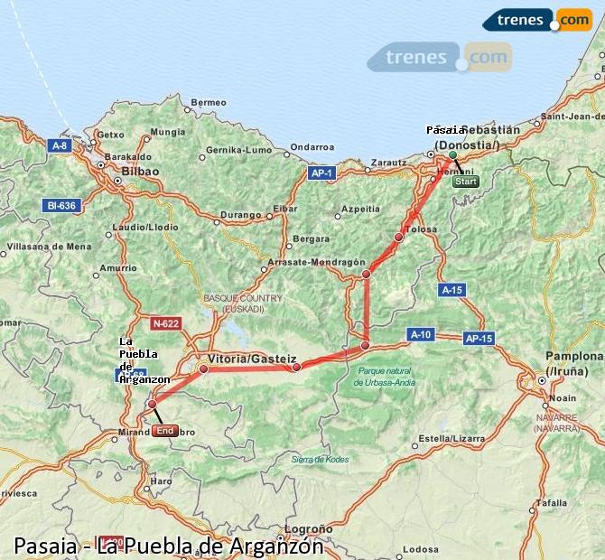 Karte vergrößern Züge Pasaia La Puebla de Arganzón