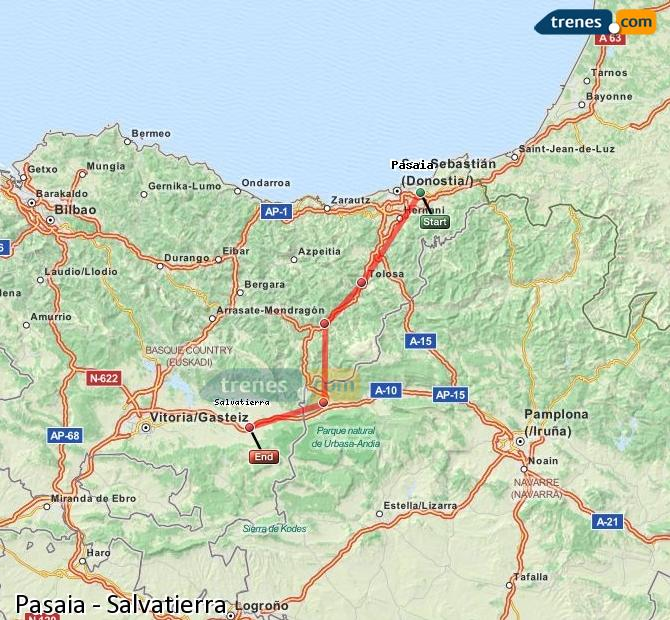 Ingrandisci la mappa Treni Pasaia Salvatierra