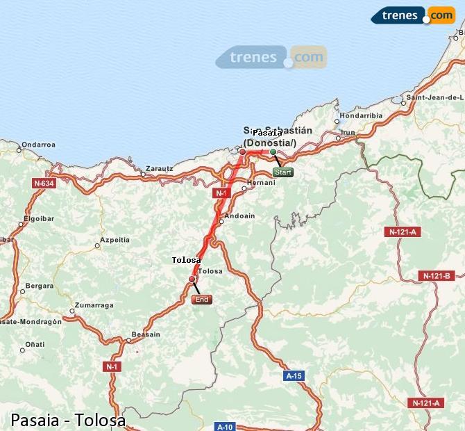 Karte vergrößern Züge Pasaia Tolosa