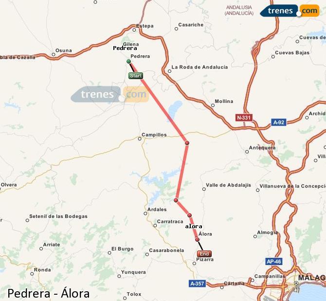 Karte vergrößern Züge Pedrera Álora