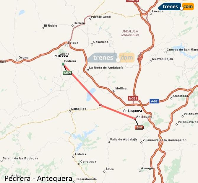 Agrandir la carte Trains Pedrera Antequera
