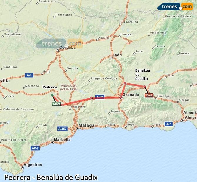 Agrandir la carte Trains Pedrera Benalúa de Guadix