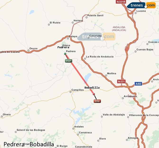 Enlarge map Trains Pedrera to Bobadilla