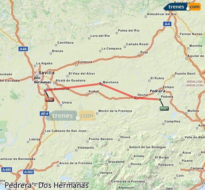 Ampliar mapa Comboios Pedrera Dos Hermanas