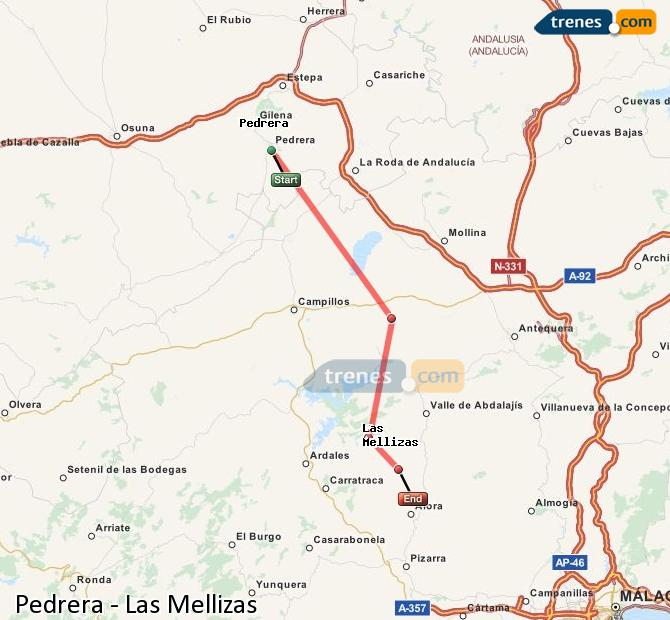 Enlarge map Trains Pedrera to Las Mellizas