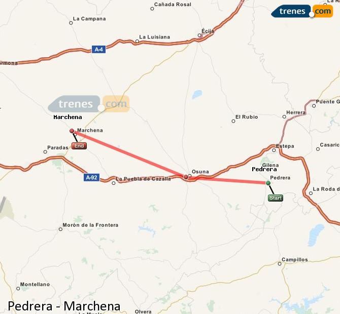 Enlarge map Trains Pedrera to Marchena