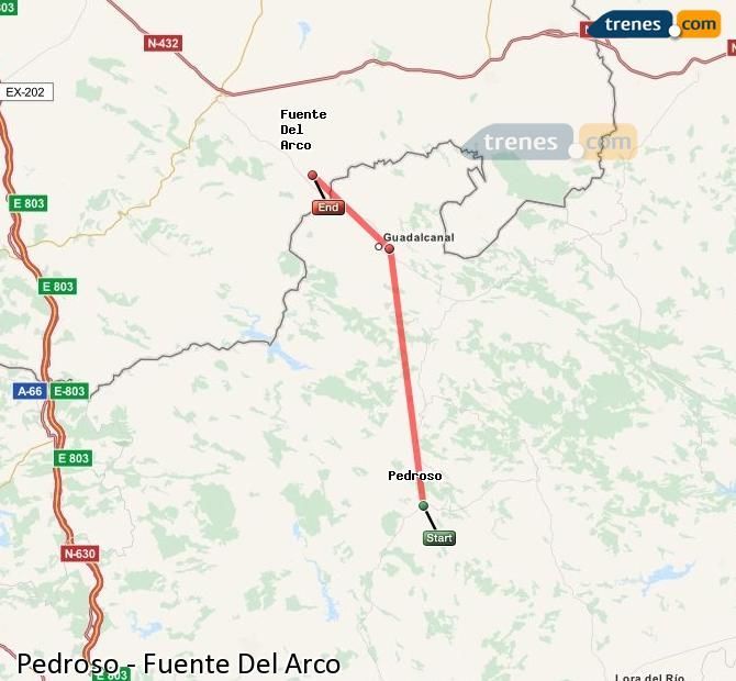 Enlarge map Trains Pedroso to Fuente Del Arco