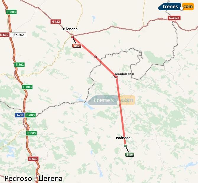 Enlarge map Trains Pedroso to Llerena