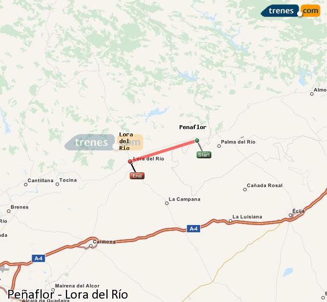 Enlarge map Trains Peñaflor to Lora del Río
