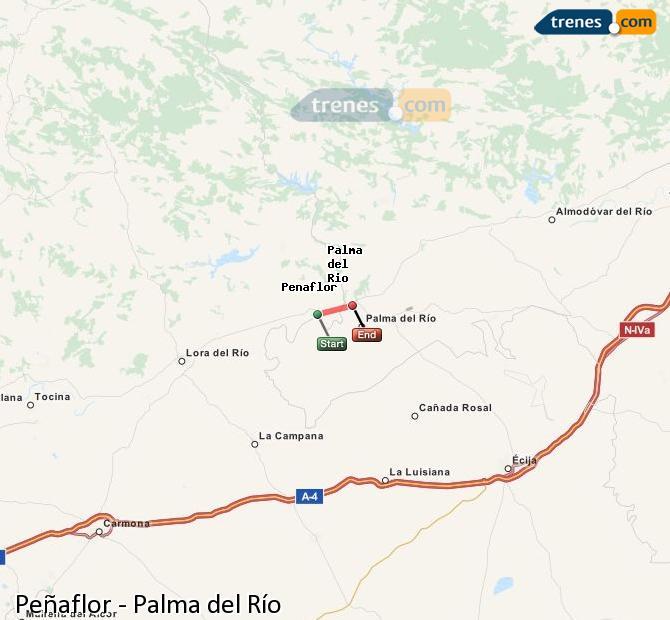 Enlarge map Trains Peñaflor to Palma del Río