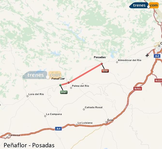 Enlarge map Trains Peñaflor to Posadas
