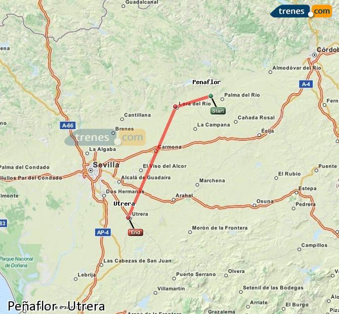 Enlarge map Trains Peñaflor to Utrera