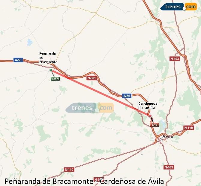 Enlarge map Trains Peñaranda de Bracamonte to Cardeñosa of Ávila